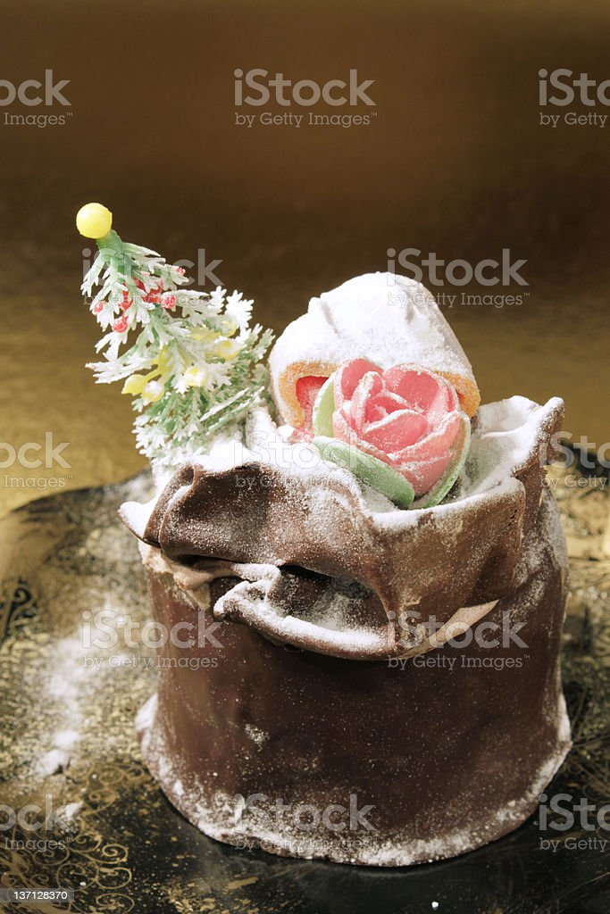 Christmas cake (Panettone) royalty-free stock photo