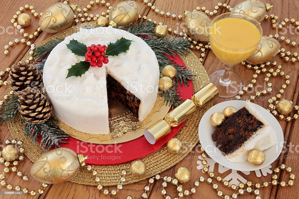 Christmas Cake Still Life stock photo