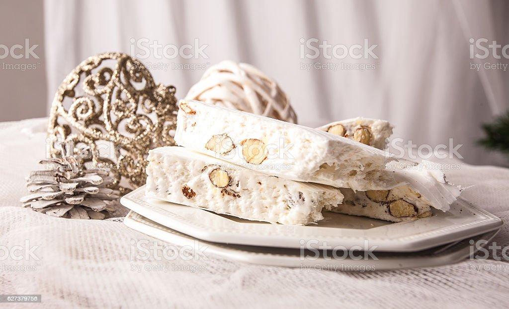 Christmas Cake, white nougat. stock photo