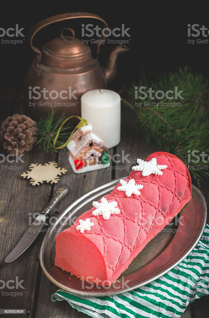 Christmas cake with decoration on wooden table. Selective focus. stock photo