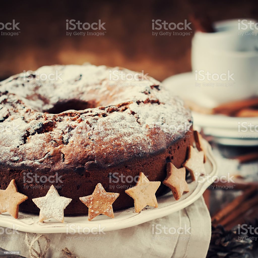 Christmas Cake with Powered Sugar. Festive Decoration Star stock photo