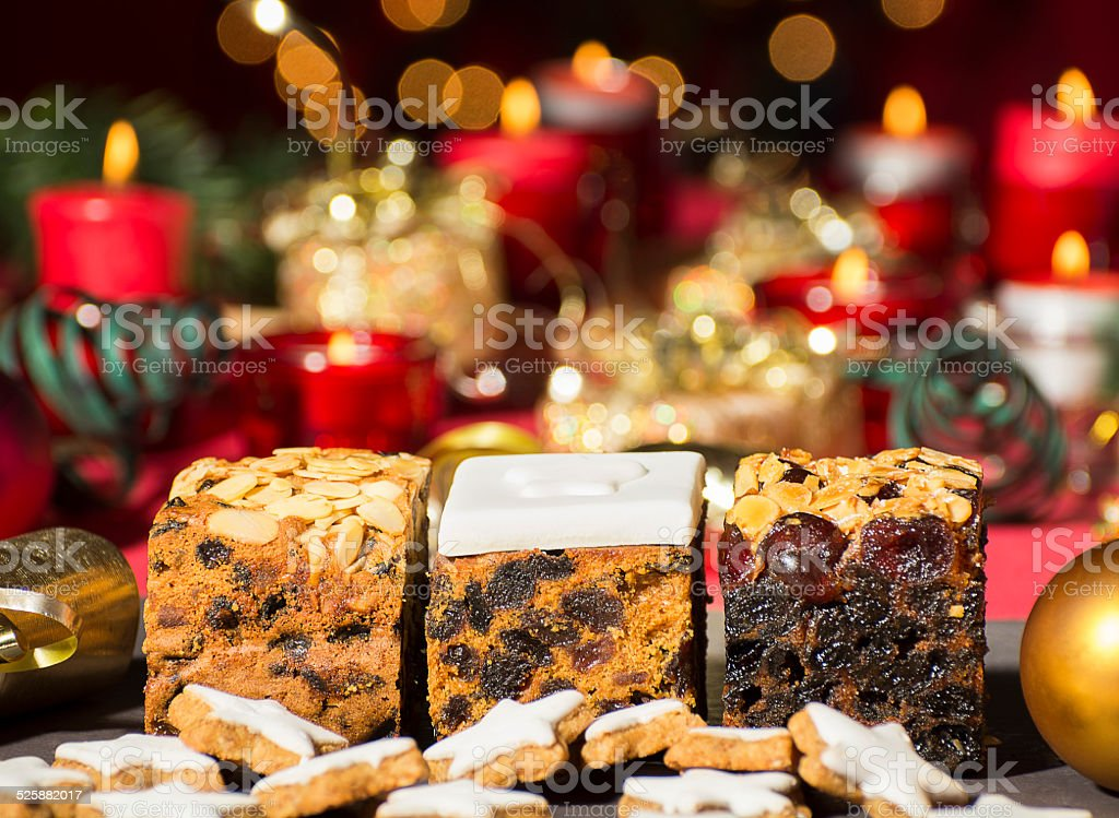 Christmas cakes with Chistmas decorations stock photo