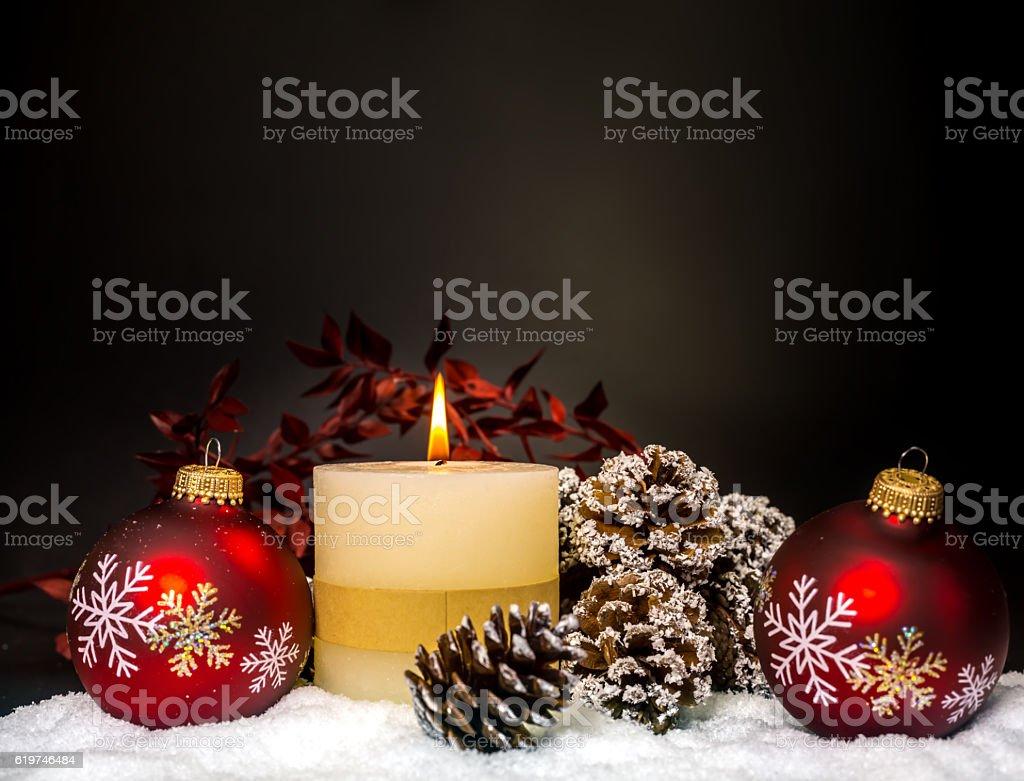 Christmas Candle and Christmas Decoration stock photo