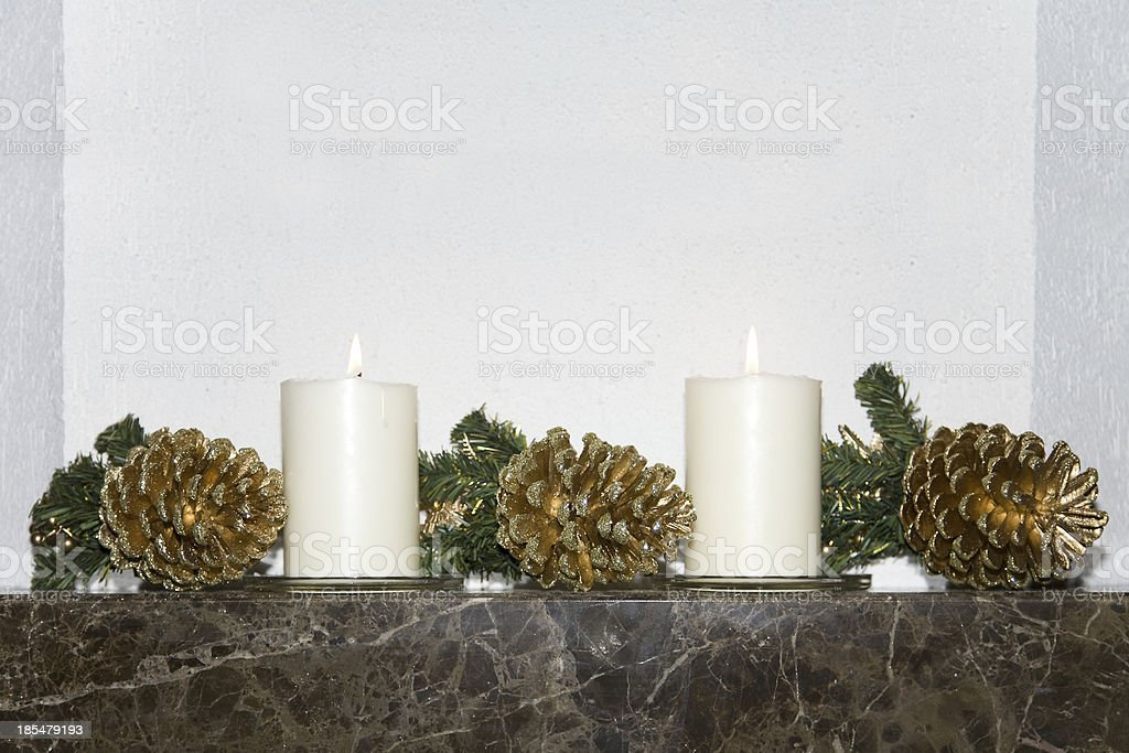 Christmas candle and cone royalty-free stock photo