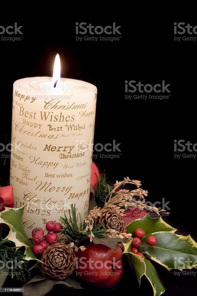 Christmas candle angled view stock photo