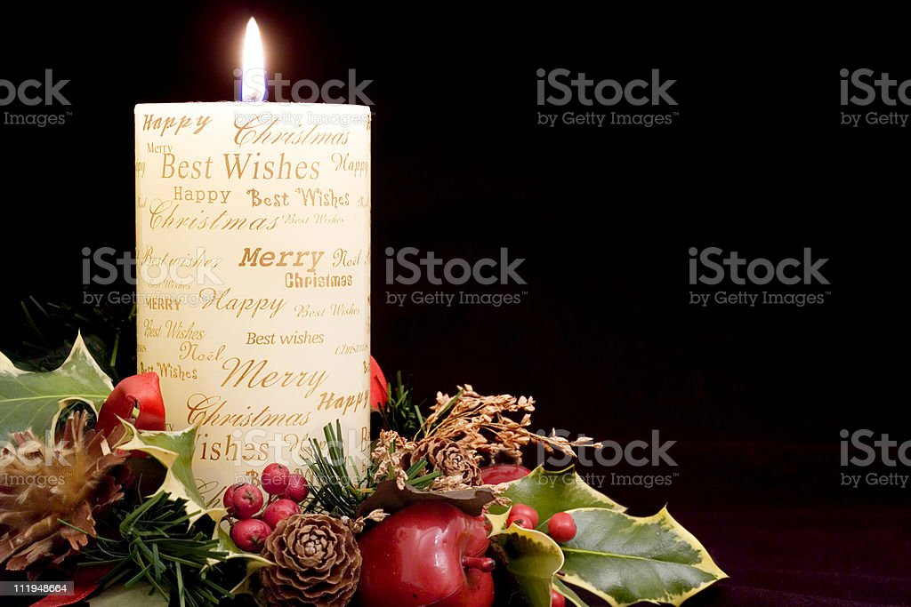 Christmas candle landscape format royalty-free stock photo