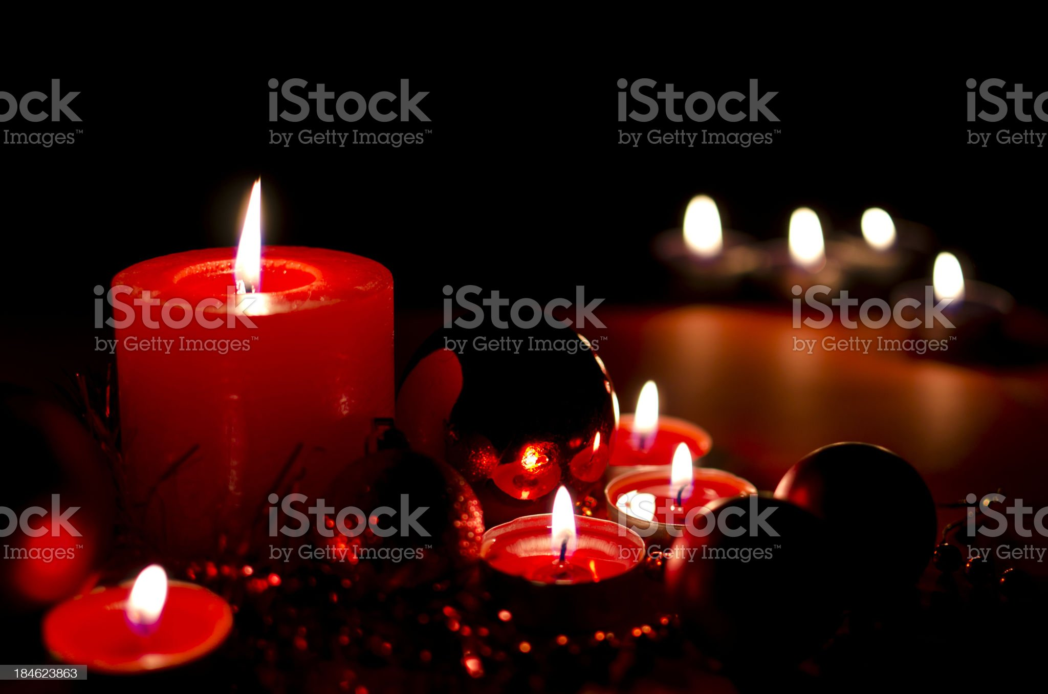 Christmas Candles and ornaments background royalty-free stock photo