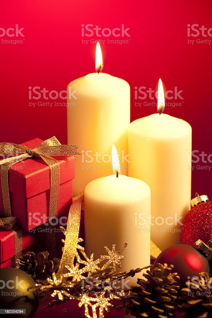 Christmas Candles & Decorations royalty-free stock photo
