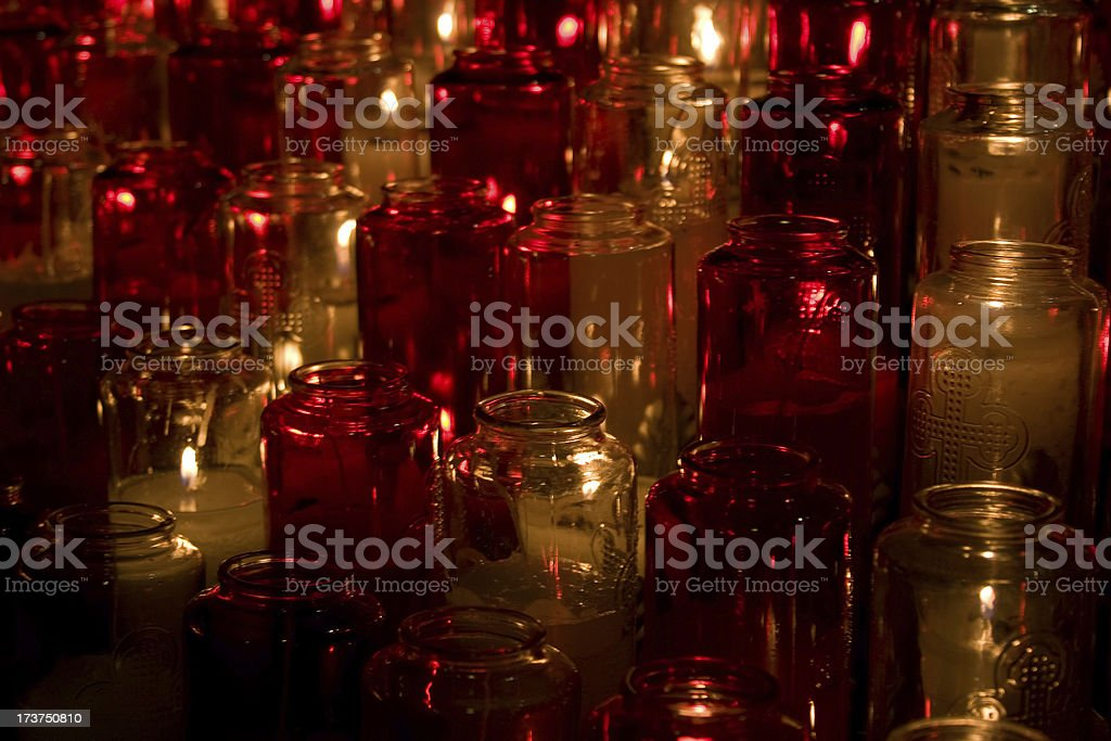 Christmas candles in cathedral royalty-free stock photo