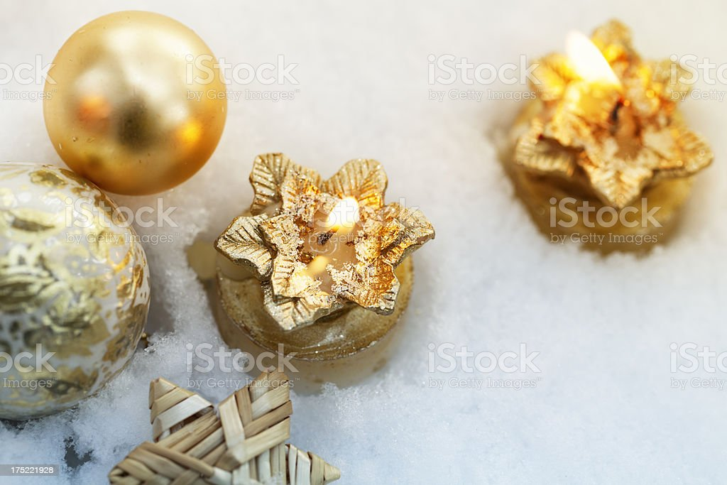 christmas candles outdoors in snow royalty-free stock photo