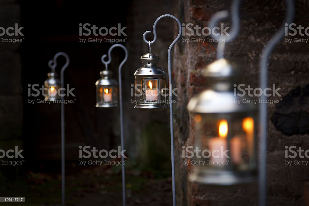 Christmas Candles With Selective Focus royalty-free stock photo