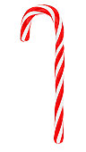 Christmas candy cane isolated on white, vertical
