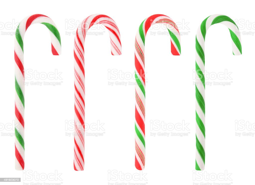 Christmas candy canes (with path) stock photo
