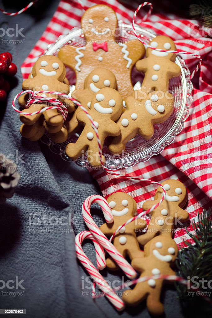 Christmas Candy Cookie Parade - Gingerbread Men stock photo