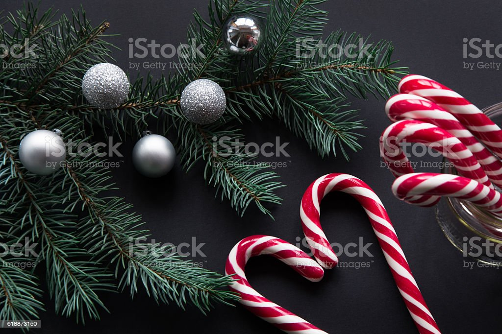 Christmas candy with silver balls and fir tree.  Top view. stock photo