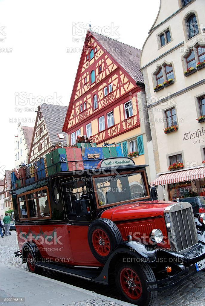 Christmas Car in Rothenburg stock photo