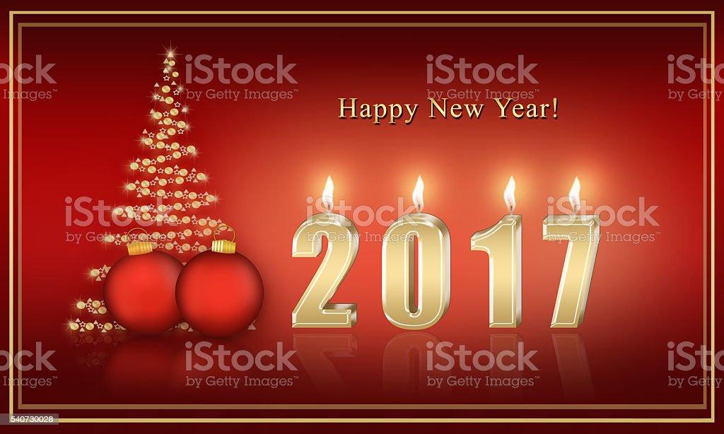 Christmas card 2017 with a Christmas tree stock photo