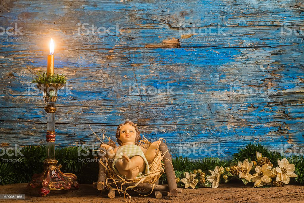 Christmas card, baby Jesus in his crib stock photo