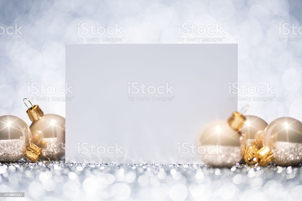 Christmas Card - Baubles Decoration Glitter Bokeh Winter Gold royalty-free stock photo