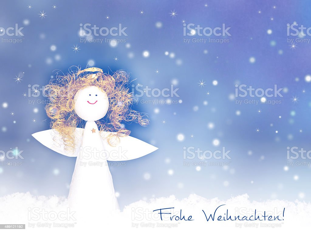 christmas card Frohe Weihnachten - Merry Christmas in german stock photo