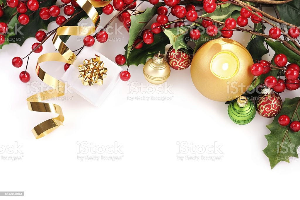 Christmas card in red,green and gold stock photo