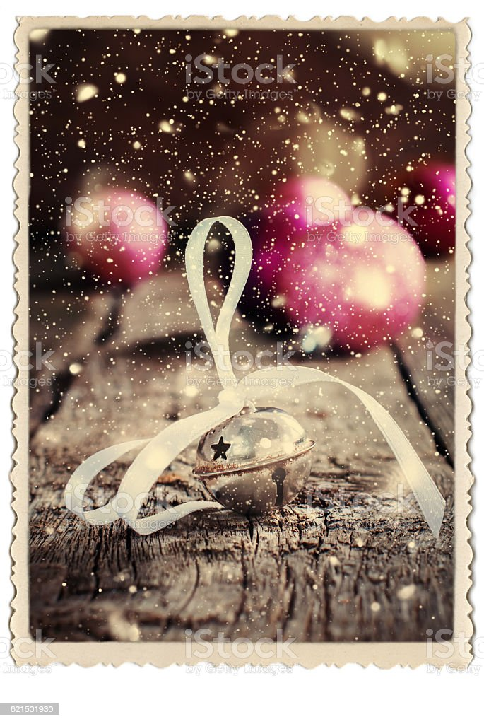 Christmas Card Jingle Bell Retro Photo Snow Drawn stock photo
