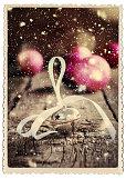 Christmas Card Jingle Bell Retro Photo Snow Drawn