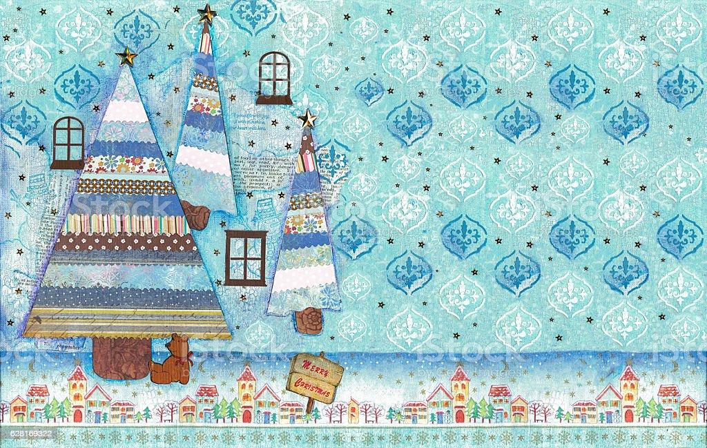 Christmas card mixed media art stock photo