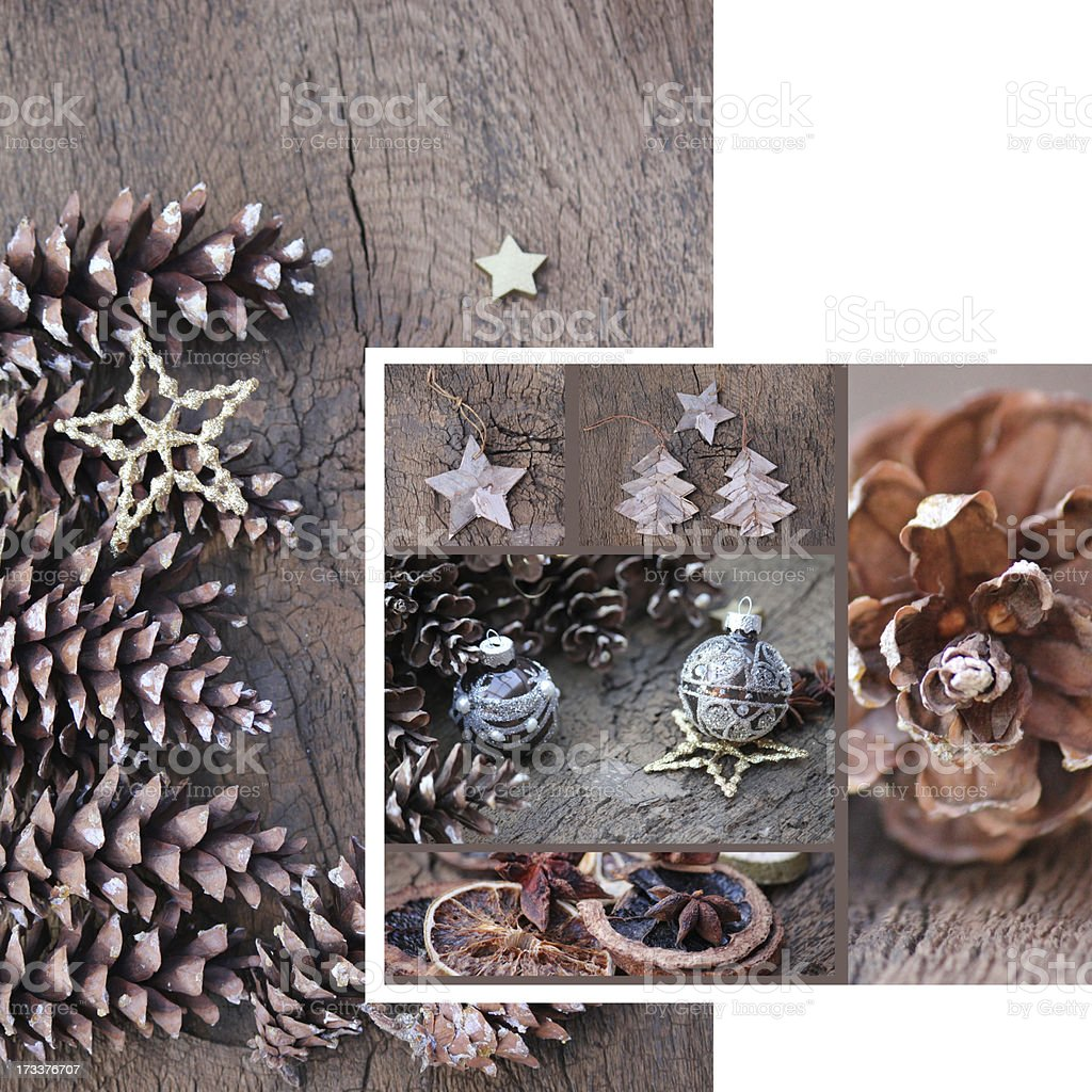 Christmas Card Pinecone royalty-free stock photo