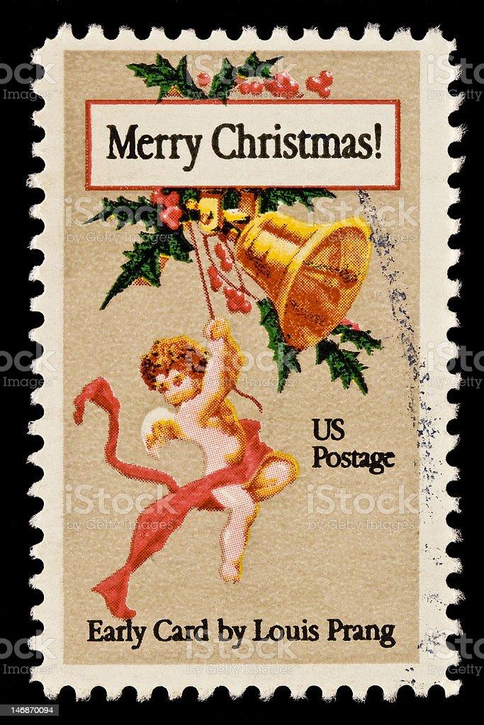 Christmas Card Postal Stamp royalty-free stock photo