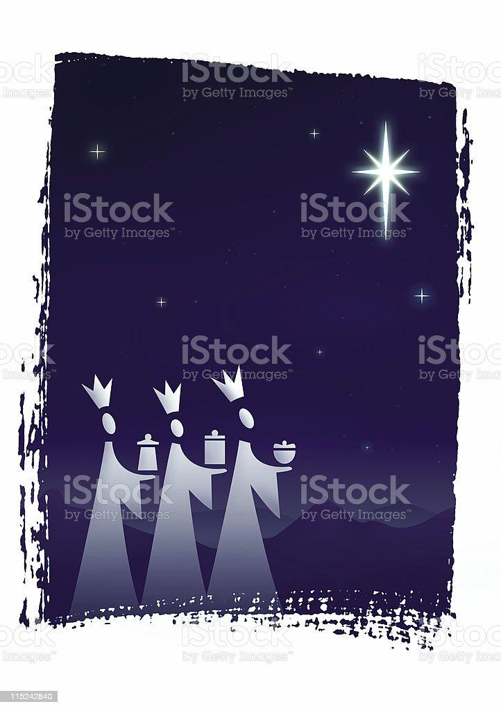 christmas card - three wise men stock photo