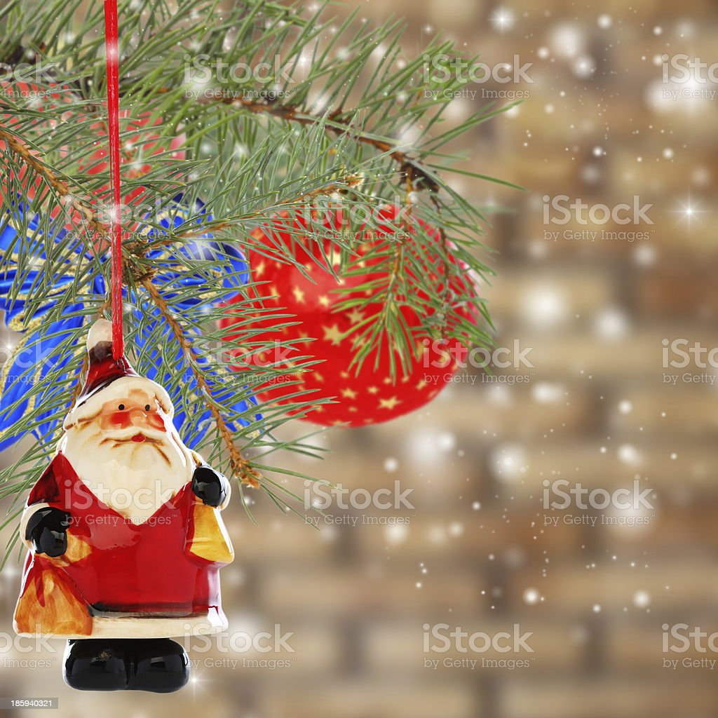Christmas card with balls and Santa Claus. Collage. royalty-free stock photo