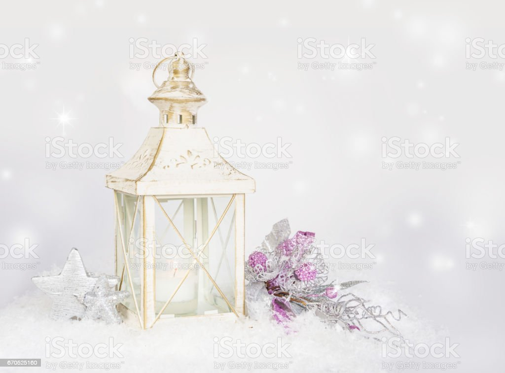Christmas card with lantern, decorations and snow stock photo
