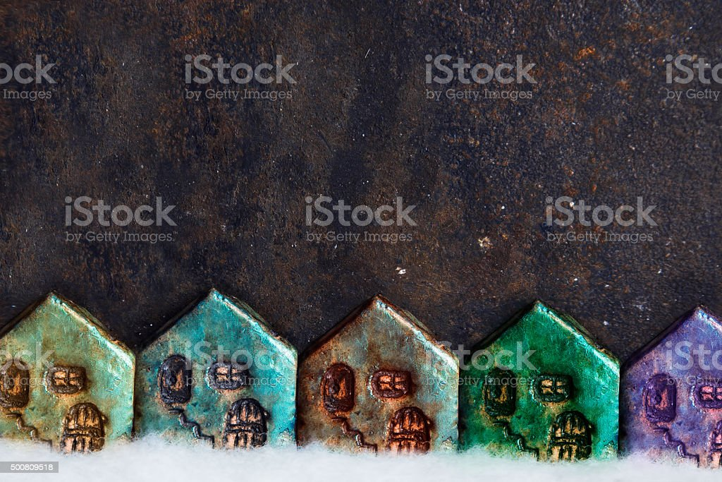Christmas card with many colorful houses stock photo