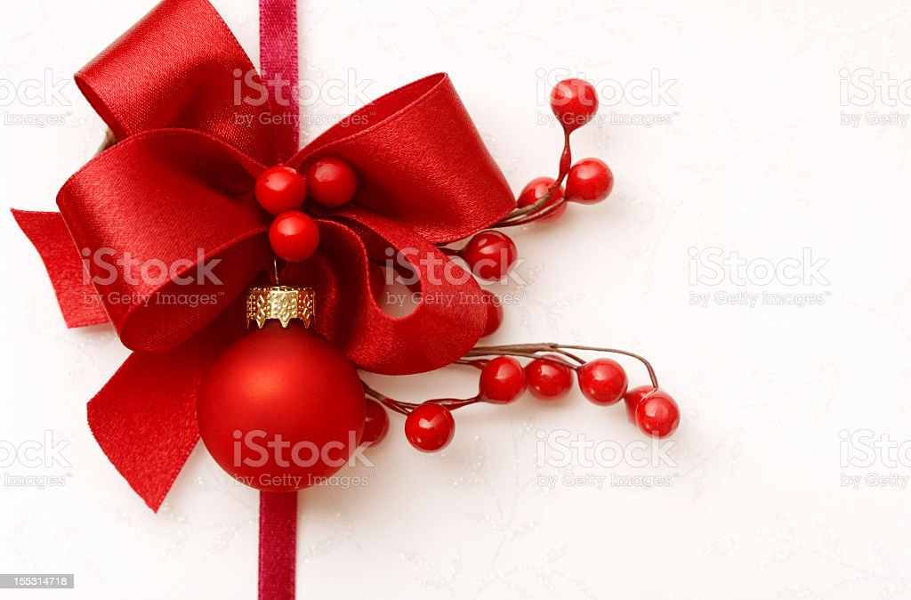 Christmas card with red decor on white background royalty-free stock photo