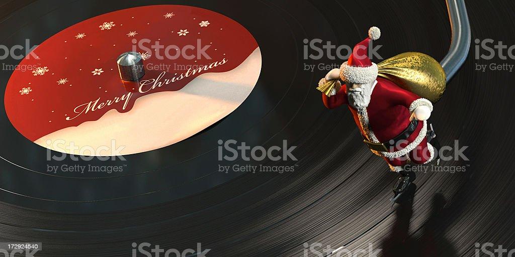 Christmas Card with Santa skating on a Vinyl Record stock photo