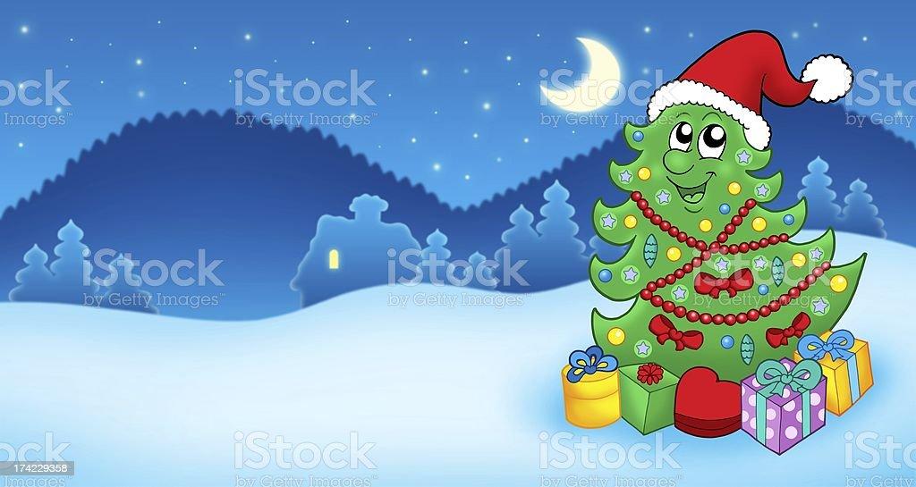 Christmas card with Santa tree and gift royalty-free stock photo