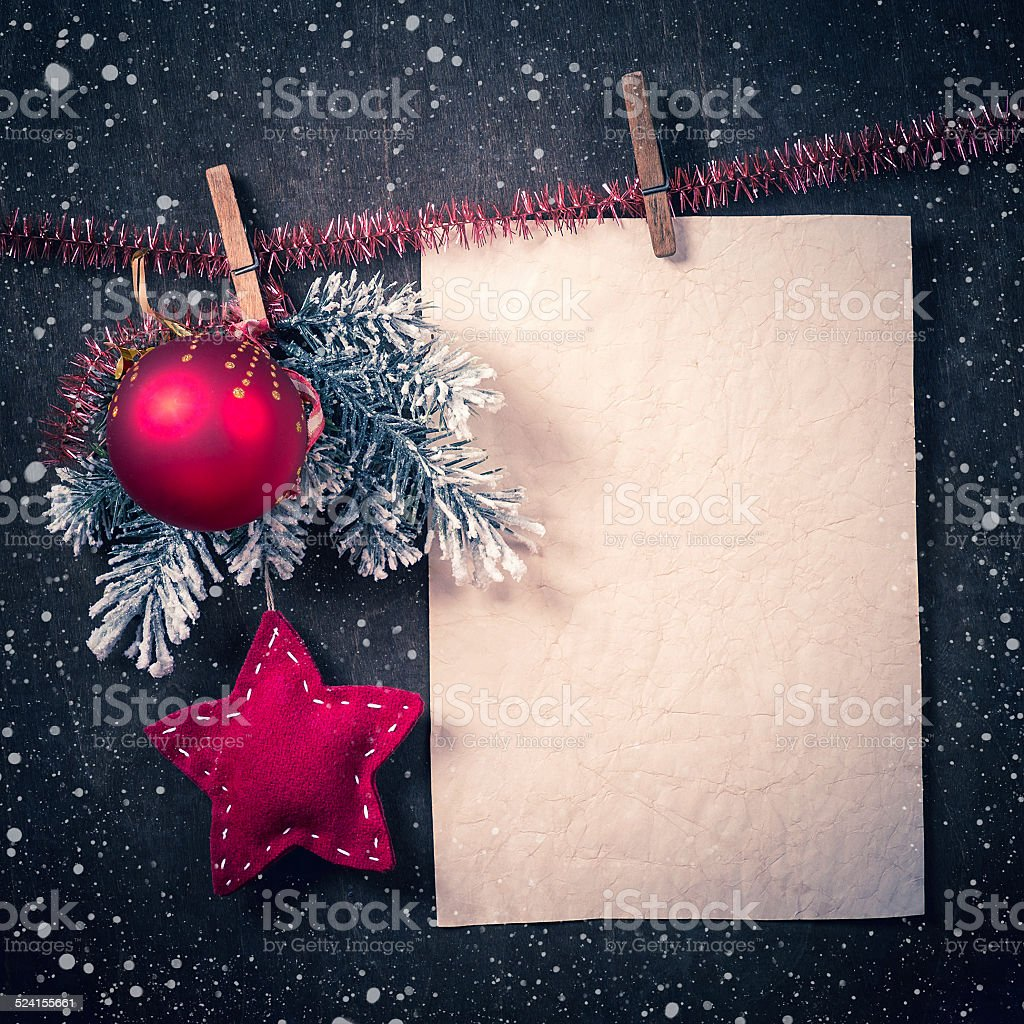 Christmas card with space for text stock photo