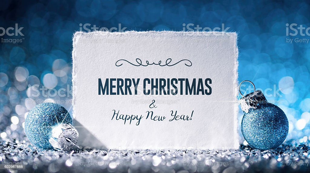 Christmas Card with Star and ornament on Glitter - Paper stock photo