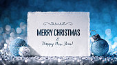 Christmas Card with Star and ornament on Glitter - Paper