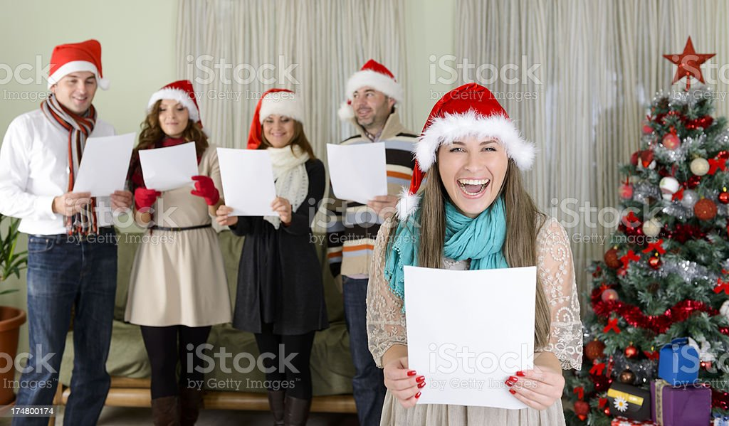 Christmas carol stock photo