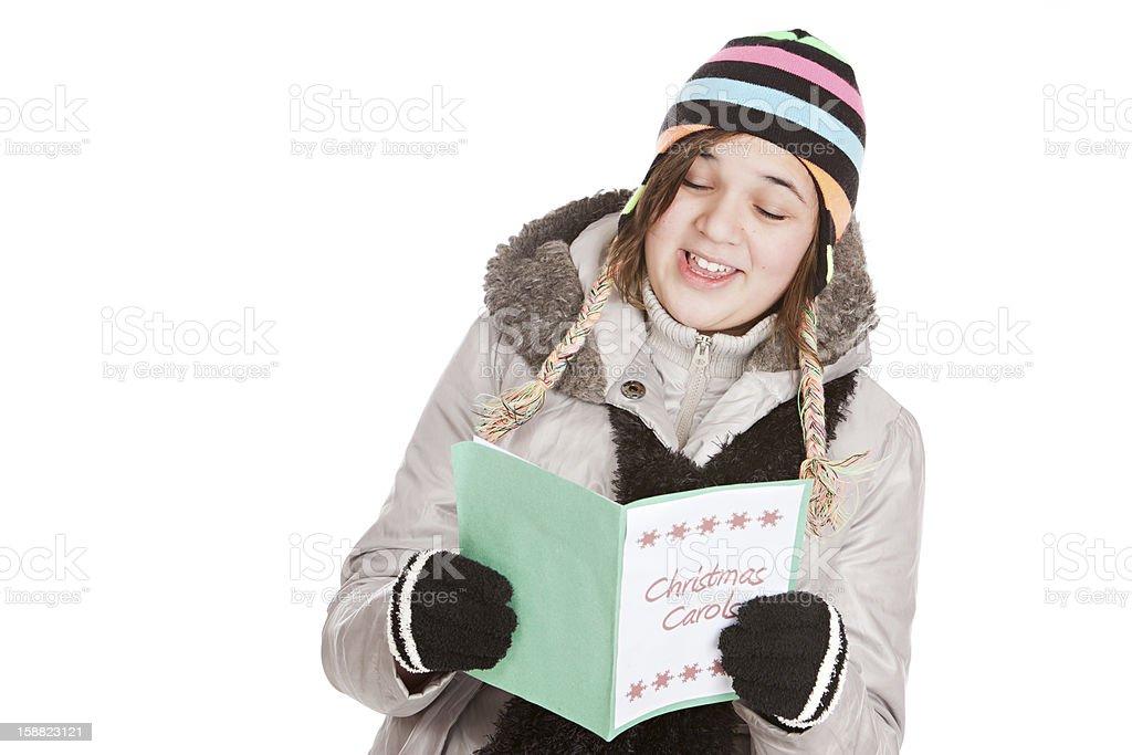 Christmas Caroler stock photo
