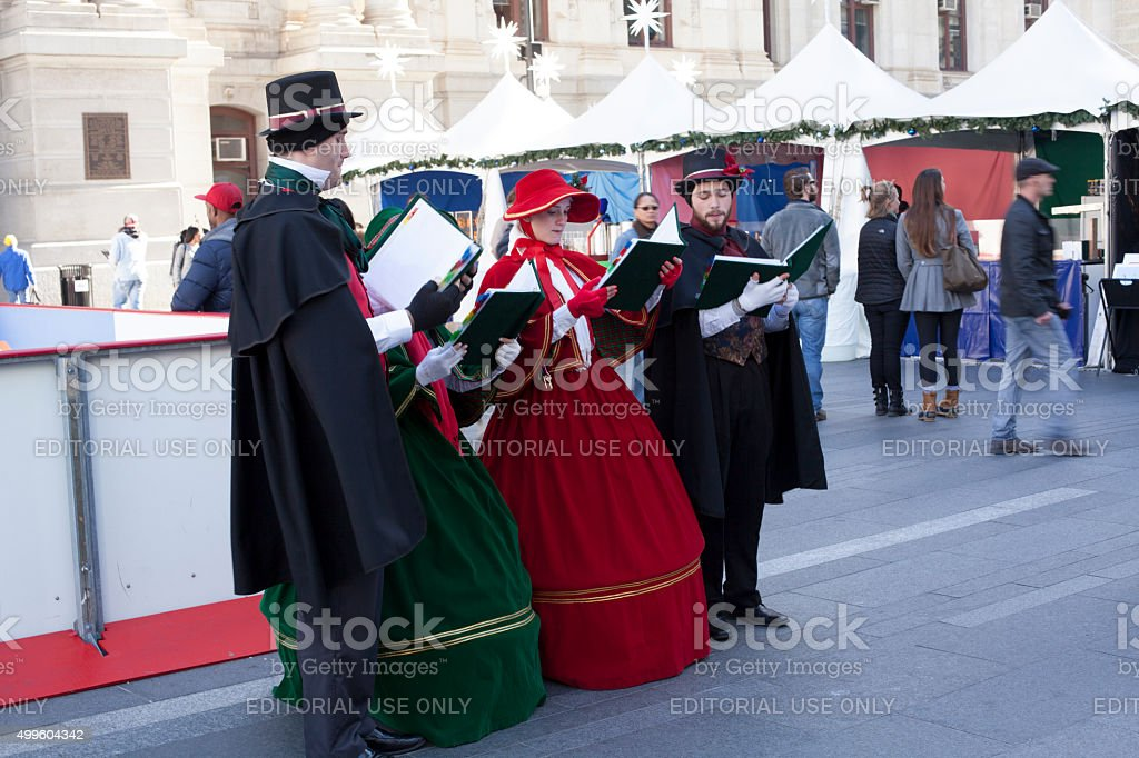 christmas caroling in Philadelphia stock photo