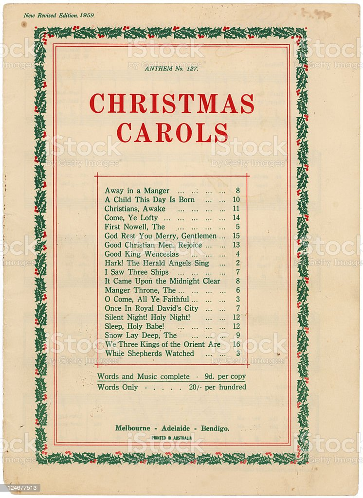 Christmas Carols Cover from 1959 royalty-free stock photo