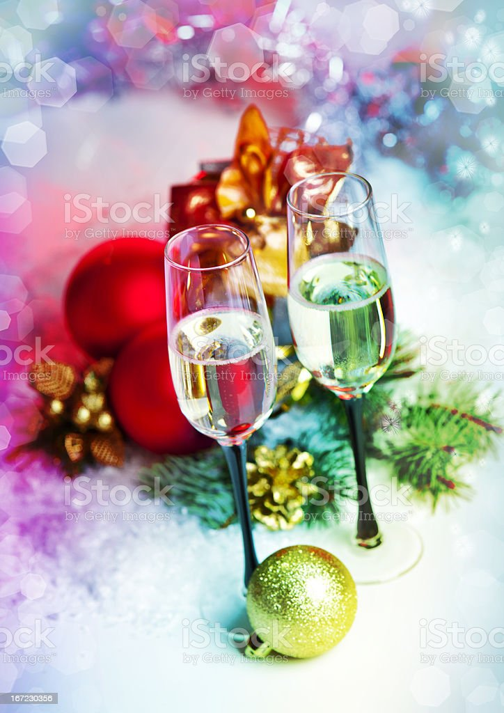 Christmas Celebration .Two Champagne Glasses in Holiday decoration. royalty-free stock photo