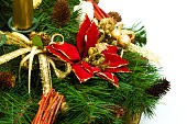 Christmas centrepiece decorations on white background