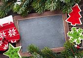 Christmas chalkboard, decor and fir tree