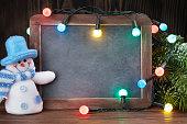 Christmas chalkboard, snowman and tree