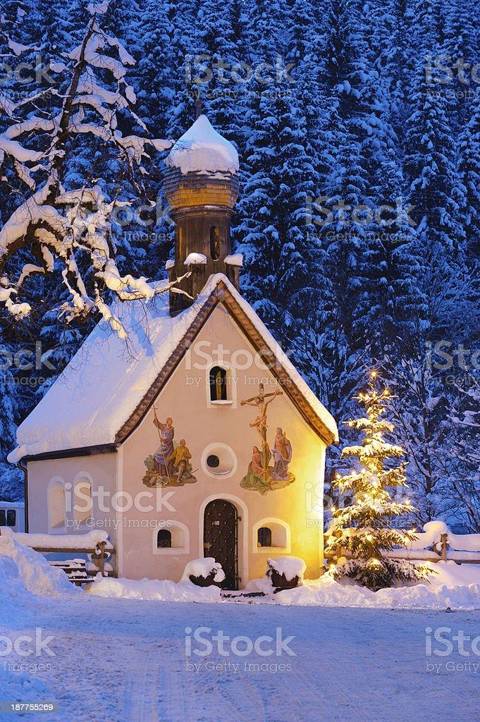 Christmas chapel in Bavaria stock photo