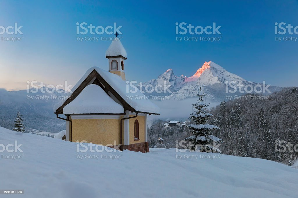 Christmas Chapel in front of Watzmann stock photo